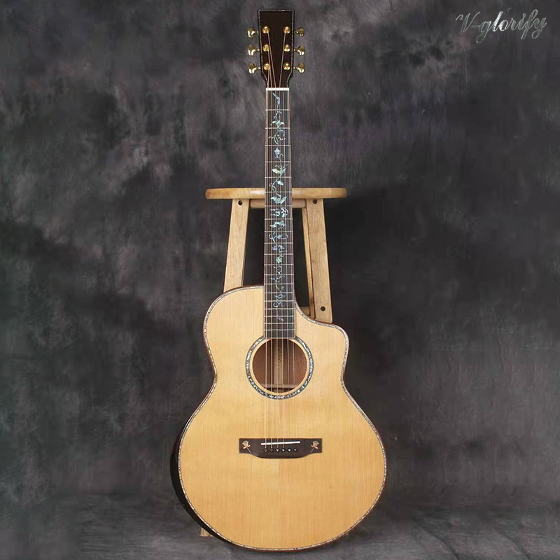 hand made full solid wood acoustic electric guitar high gloss cutway acoustic guitar free hard case high quality image