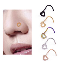 Anti-allergy Stainless Steel Hollow Heart Nose Piercings Labret  Stud Ear Piercing Pour Nez Rings Body Jewelry
