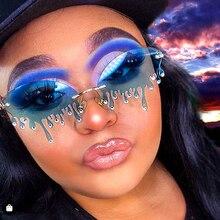 Luxury Diamond Sunglasses Women Tears Shape Vintage Unique P