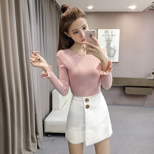 New Korean version of autumn dress fashion vertical tattoo slim solid color bottom knitted  Elasticity Pullovers