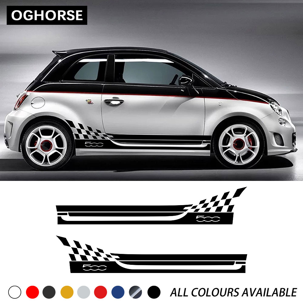 <font><b>2</b></font> Pcs Abarth Door Side Stripes Sticker Racing Lattice Car Styling Body Decoration Decal For Fiat <font><b>500</b></font> Bravo Palio Accessories image