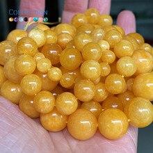 Натуральный желтый янтаря нефрит камень свободные шарики Круглые бусины для изготовления ювелирных изделий на возраст от 6 до 12 лет mm разде...
