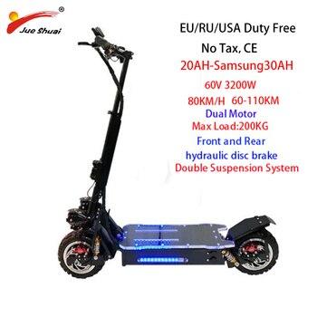 Patinete eléctrico todoterreno de 80 km/h y 3200W, neumático ancho con batería Samsung, patín eléctrico de tabla larga, patinete eléctrico adulto