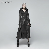 PUNK RAVE Women Gothic Victorian Black Outwear Coat Pointed Sleeves Judge Long Coat Punk Party Cospaly Costume Women Trench Coat