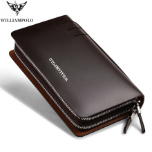 Fashion Men Genuine Leather Clutch Wallet Williampolo Double Zipper Handy bag Phone Credit Card Holder Organizer Business Bag williampolo minimalist business men s clutch bag genuine leather flap handy wallet men clutches with cigarette case phone pocket