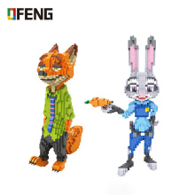 цена на LOZ mini Blocks Judy Nick Rabbit Fox model Diamond Bricks Cartoon Figure Blocks Set Toys for Children Gifts 9029