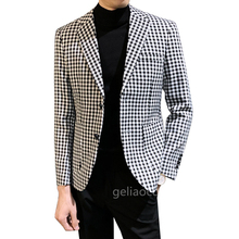 Blazer-Set Clothing Jacket Coat Plaid Mens Lapel Notch Groomsmen-Suits Custom-Made Handsome
