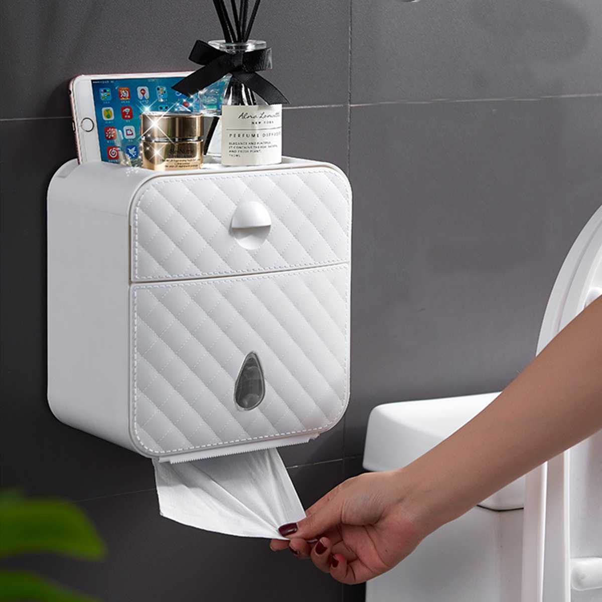 White Plastic Toilet Paper Holder Wall-mounted Tissue Box Case Storage Rack Tissue Dispenser Bathroom Accessories Organizer