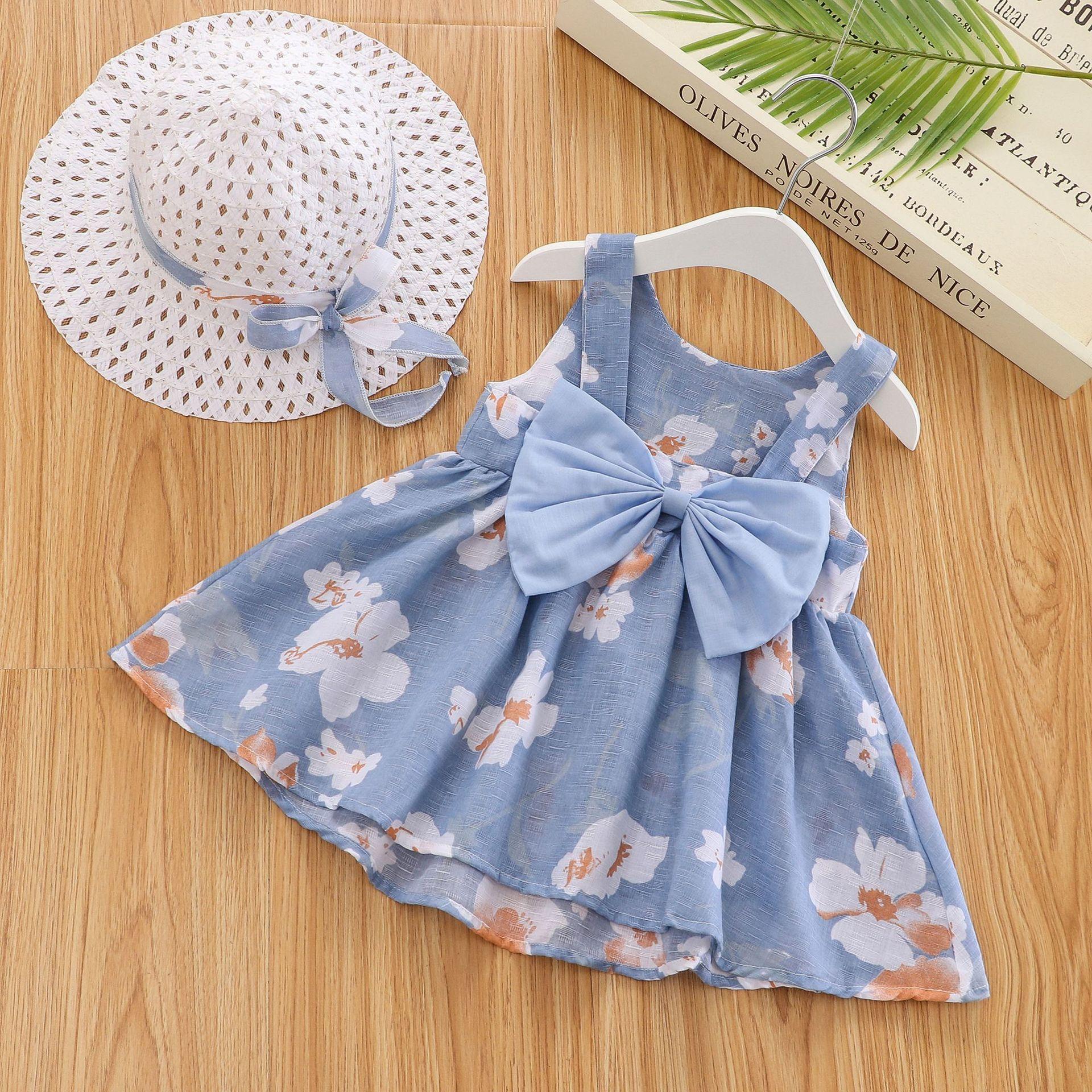 2Piece Summer Toddler Girl Clothes Set Baby Beach Dresses Cute Bow Plaid Sleeveless Cotton Newborn Princess Dress+Sunhat