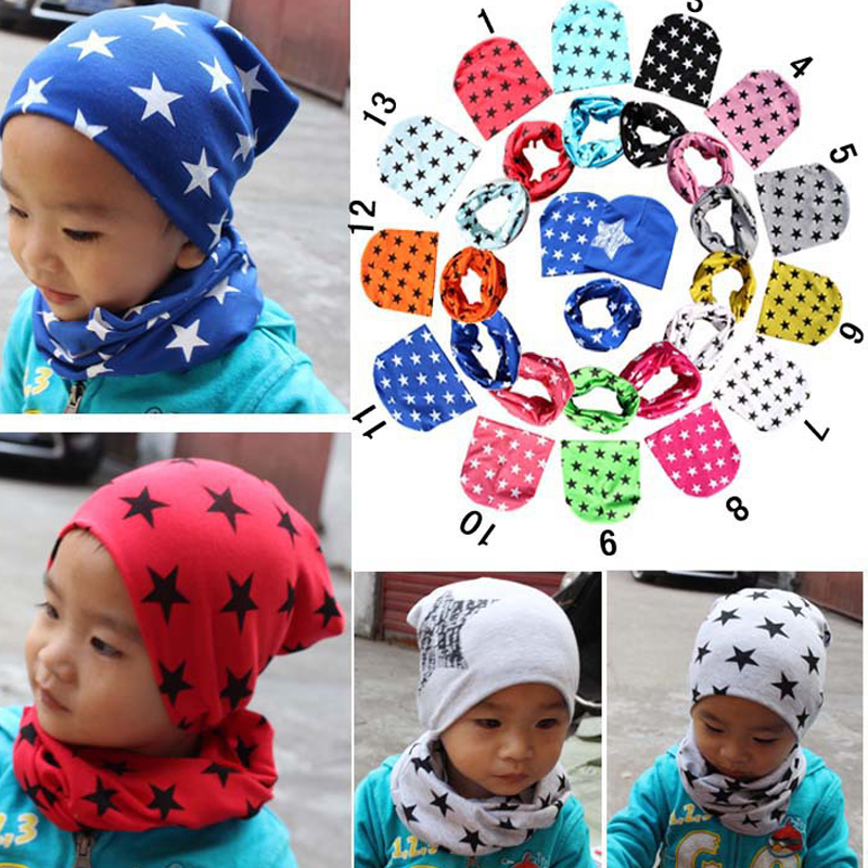 Hot Sale Hats Cap Autumn Winter Girls Tops Boys Scarf Hats Scarf New Stars Solid Crochet Style Warm Hat Scarf Fashion