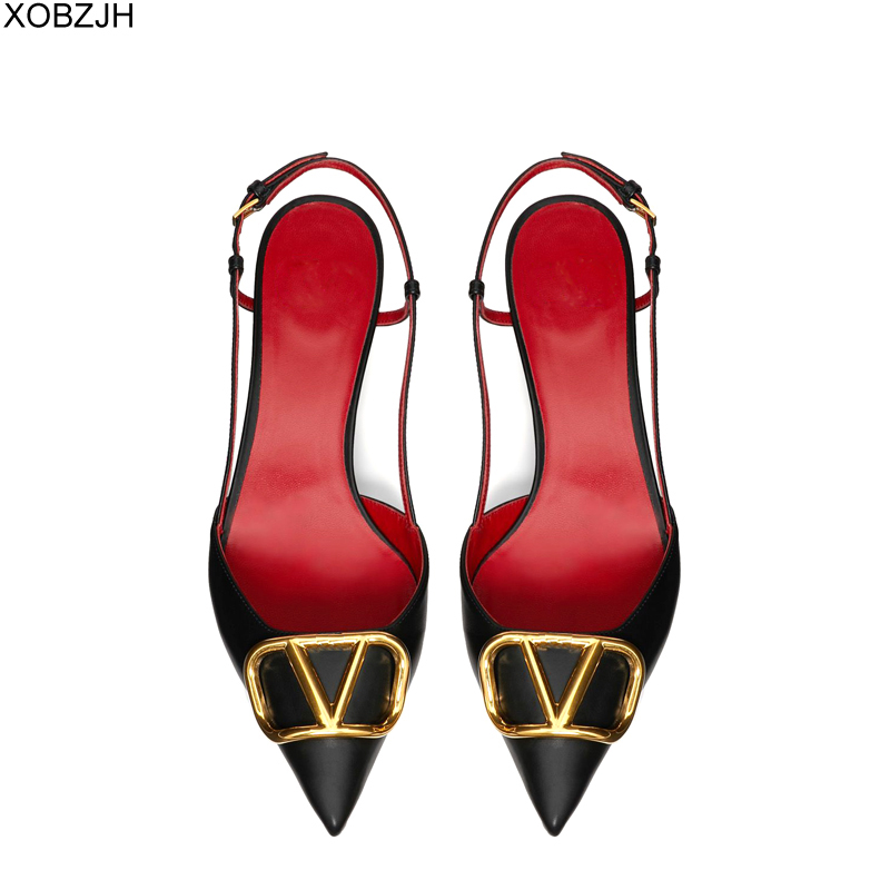 Designer Shoes Women Luxury 2019 Brand Kitten Low Heels Pumps Black White Red Ladies Leather Logo Sandals V Office Shoes Woman