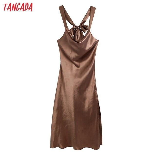 Tangada Fashion Satin Halter Dresses for Women 2021 Back Bow Female Long Dress CE216 1