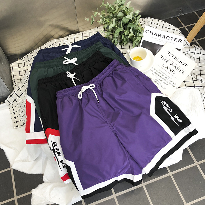 Summer Shorts Men's Beach Casual Basketball Hip Hop Rap Comfortable Sports Men's Shorts Fashion Pants 100% Cotton Purple Green