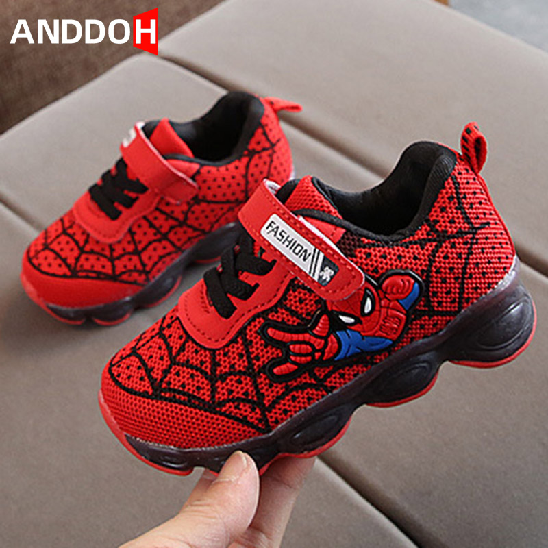 Spiderman Children Boys Shoes Kids LED Shoes With Light Toddler Baby Shoes Luminous Glowing Sneakers Spider Man Cartoon Slippers