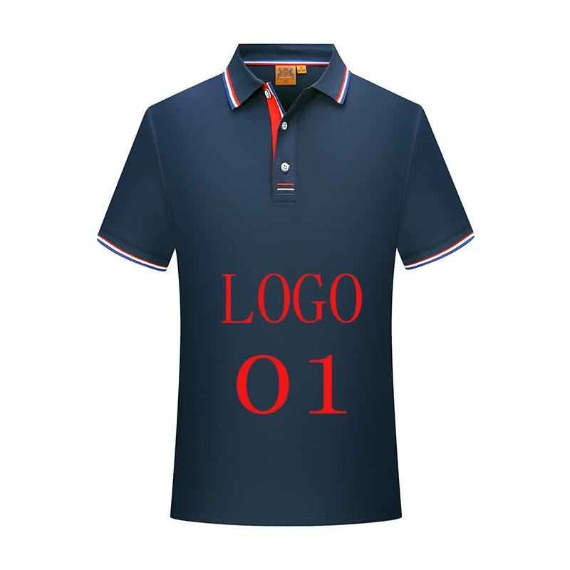 LOGO custom men's summer polo shirt men's solid color business casual knit polo shirt men's T-shirt