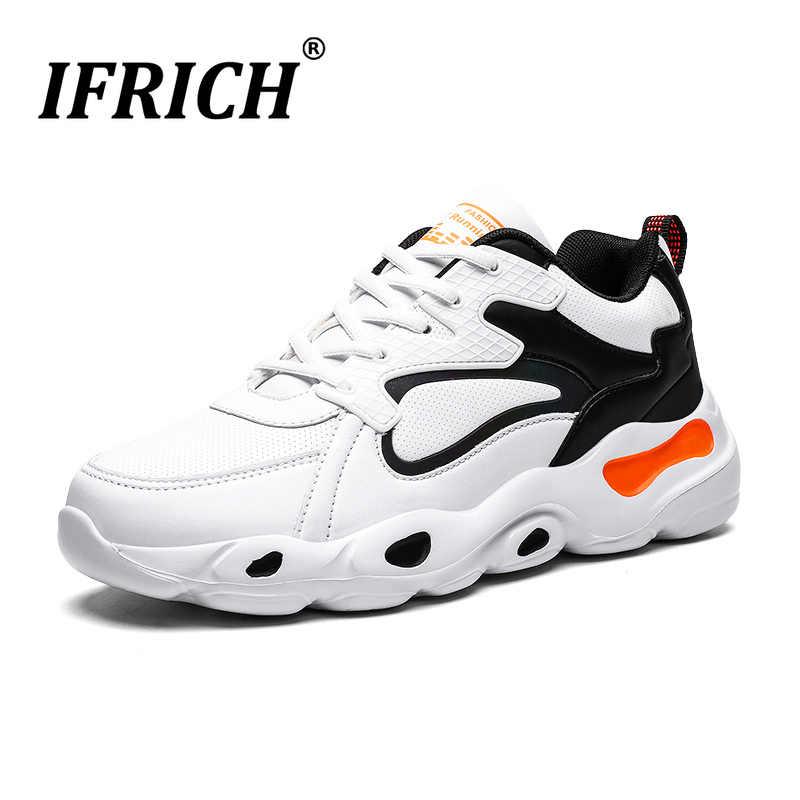 Ifrich popularne buty do chodzenia dla mężczyzn jesienne buty sportowe męskie wygodne buty do biegania dla chłopców Pu skórzane męskie obuwie sportowe