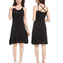 Women Modal Spaghetti Strap Dress Sexy V-neck Underdress Solid Petticoat Camisole Women Vest Dress(China)