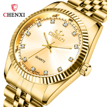 цена на CHENXI Top Brand Luxury Couple Watch Golden Stainless Steel Waterproof For Women&Men Lovers Watch Fashion Dress Gift Wristwatch