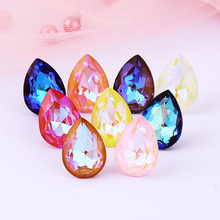 Mocha Fluorescent Tear Drop Rhinestones Shiny Glass Rhinestones Pointback Crystals For Crafts Loose Glass Rhinestones Strass gorgeous artificial crystals rhinestones oval necklace for women