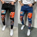 Men Elastic Rip Skinny Motorcycle Embroidered Printed Jeans Destructed Holes Tape Fit Jeans Slice High Quality Jeans In 3 Styles