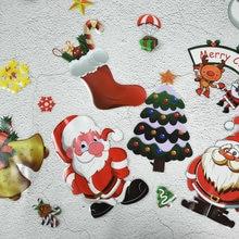 Рождественские наклейки на стену окно стекло Санта Клаус снежинка