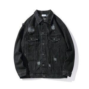 Image 2 - Harajukuมือพิมพ์หลุมChaqueta Hombre Streetwearกางเกงยีนส์ชายเสื้อLapel Hip Hopเสื้อกันหนาวDenim Bomberแจ็คเก็ตหลวม