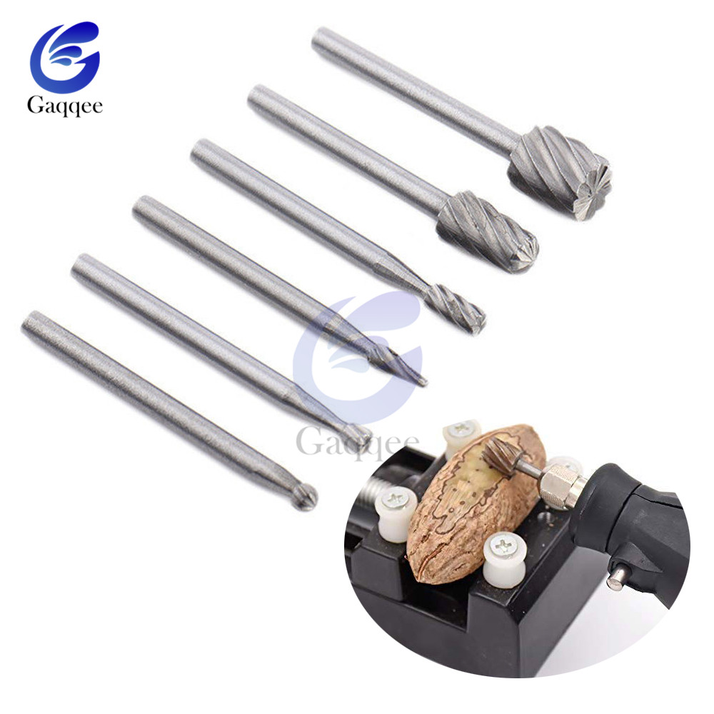 6pcs HSS Rotary Tools Wood Milling Burrs Cutter Set Router Drill Special Seat Rotary Burrs Set Woodworking Carving Tools Kit