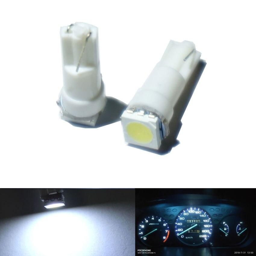 100X Белый t5 led белый инструмент лампы автомобильной двери клин Калибр лампа для чтения панель с предупреждающим индикатором лампы 12 В - Испускаемый цвет: Белый