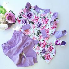 Newborn Baby Girls Clothes Winter Outfits Flower Tops+Ruffle Pants 3Pcs Set Spring Autumn