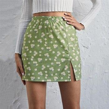 Summer Women High Waist Mini Skirt Casual Full Floral Print Elastic Waistband Miniskirt With Side Slit Female Clothing 2021 slit side flower print kimono