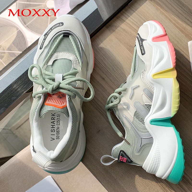 2020 Fashion Brand Women Chunky Sneakers Rainbow Platform Transparent Shoes Green White Woman Sneakers Chaussures Femme Basket