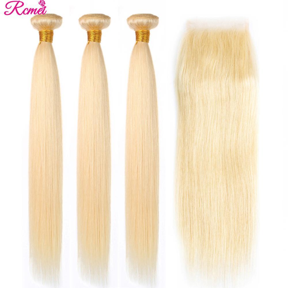 Ombre Bundles With Closure 613 Bundles With Closure Brazilian Hair Weave Bundles Straight Human Hair Bundles With 4X4 Closure