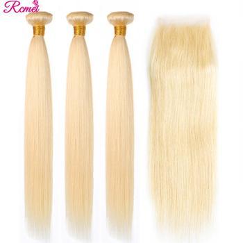 Ombre Bundles With Closure 613 Bundles With Closure Brazilian Hair Weave Bundles Straight Human Hair Bundles With 4X4 Closure фото