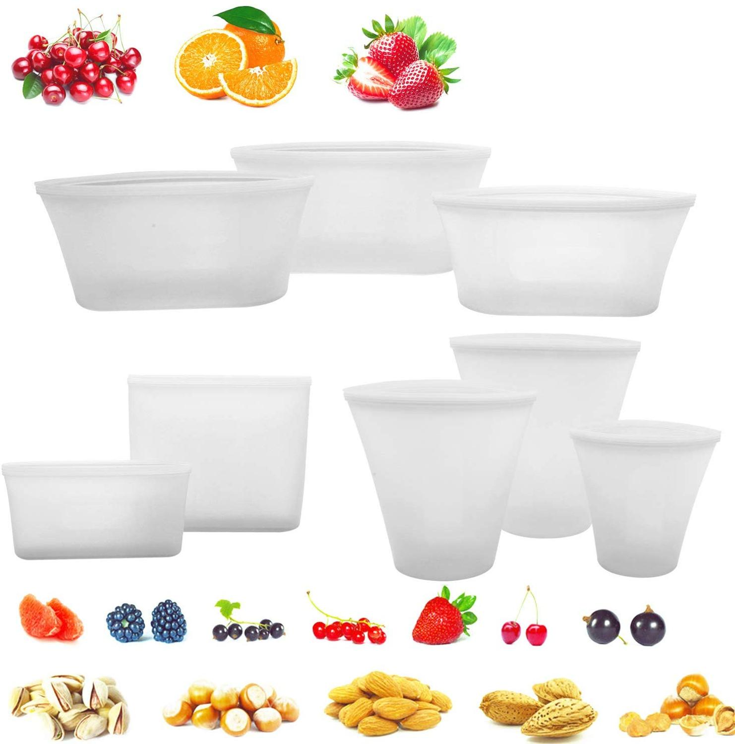 Reusable Kitchen Storage Bag Silicone Leakproof Containers Set Original Silicone Food Storage Bowls Cups Bags Set With Seal