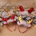 Рождественская повязка на голову, модная шапка, олени, рога, Санта, Рождество, дети, девочки, взрослые, Renifer, одежда для волос, рождественские ...