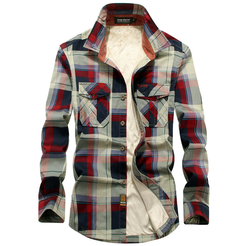 Brand Men Plaid Shirts Winter Warm Cotton Liner Fleece Shirt Casual Men Long Sleeve Dress Shirt Military Coat Chemise Homme