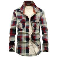 Brand Men Plaid Shirts Winter Warm Cotton Liner Fleece Shirt Casual Men Long Sleeve Dress Shirt Military Coat Chemise Homme