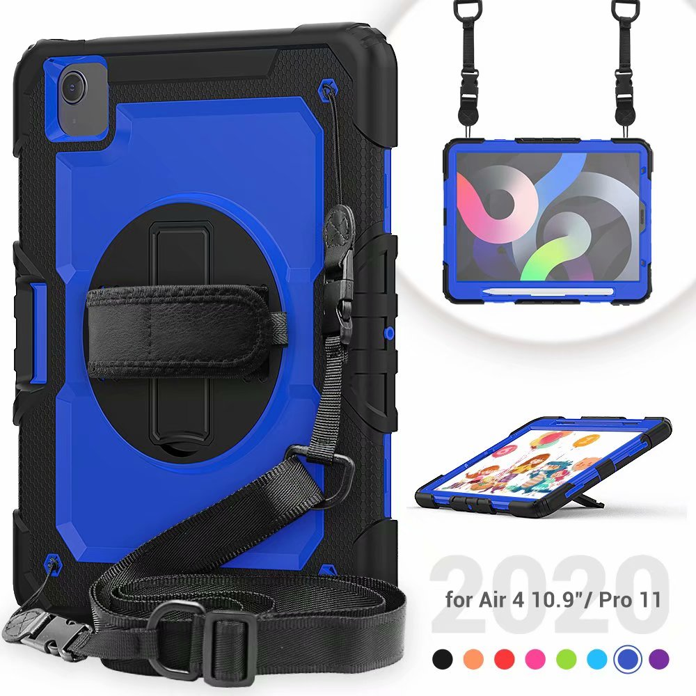 Silicone Case Kickstand For with Film Protective Air Heavy Screen Duty Generation 4th iPad