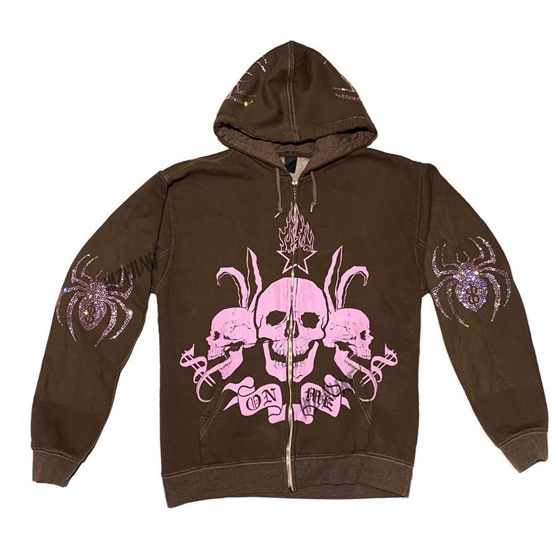 Women Rhinestone Spider Skull print Streetwear Hoodies Women Coat Goth Harajuku Y2k aesthetic Clothes grunge Punk Jacket Zip-up