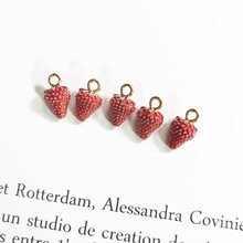 10 pçs 10x15mm esmalte morango charme para fazer jóias brinco pingente pulseira charme moda charme frutas charme
