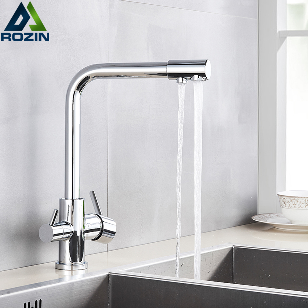 Rozin Chrome Brass Purified Water Kitchen Faucet Mixer Tap And Pure Water Filter Faucet Deck Mounted Dual Handles Hot Cold Taps