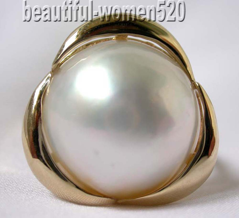 P7746 Huge 20mm South Sea Mabe Pearl Crescent Ring 925Silver & 14K Gold
