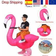 Flamingo Aufblasbare Kostüm Party Christms Kostüm Für Frauen Erwachsene Kinder Kinder Dino Cartoon Anime Aufblasbare Maskottchen Cosplay