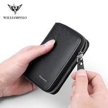 WILLIAMPOLO אופנה 100% עור רוכסן קטן ארנק Portefeuille Homme מיני ארנק PL171320