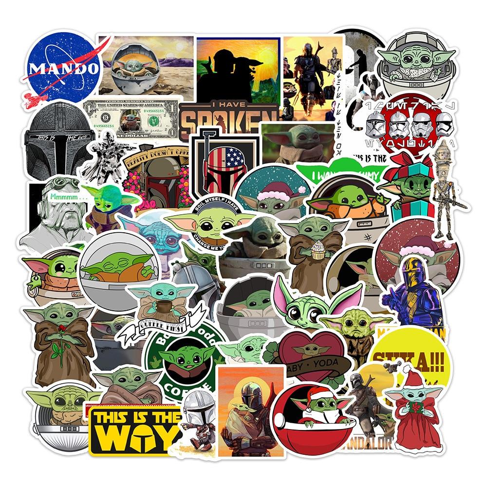 50pcs Baby Yoda Stickers Cartoon Star Wars The Mandalorian Waterproof Skateboard Luggage Motorcycle Guitar Graffiti Kid Toys