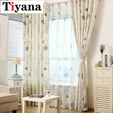 Pastoral Vintage patrón de hojas cortinas modernas para dormitorio de algodón de lino paneles de ventana puerta ventana cortinas P393X