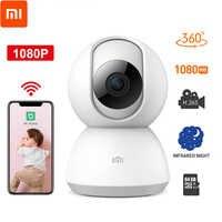 Oryginalny Xiao mi mi jia 360 stopni wersja nocna IP inteligentny aparat fotograficzny Wifi niania elektroniczna baby monitor sterowaniem głosowym kamera internetowa wideo dla mi domu