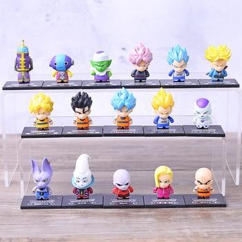 Anime 8 unids/set Bola de Dragón Z Torankusu pelo negro Son Goku zenasu Frieza Piccolo Q versión PVC figura de acción de juguete coleccionable