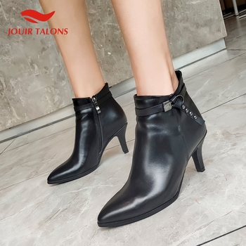 2020 Genuine Leather Cow Suede Elegant Pointed Toe Thin Heels Women Shoes Woman Office Lady Ankle Boots Fashion Booties