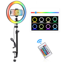 13 12 10 6 Inch Ring Licht 15 Colores Rgb Led Anillo De Luz 6 Rgb Knipperlicht 33 26cm Tafelblad Klem Voor Youtube Live Stream